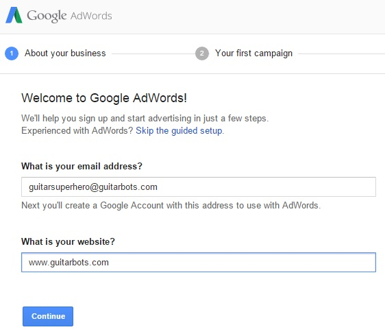 AdWords Screen 1